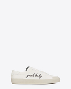 "Signature COURT CLASSIC SURF SL/37 ""YEAH BABY"" Sneaker in Off White Canvas"
