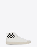 Signature COURT CLASSIC SURF SL/37M Sneaker in Off White and White and Black Checker printed Distressed Leather