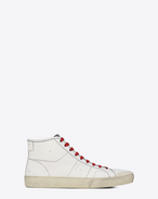 SAINT LAURENT High top sneakers U Sneakers Signature COURT CLASSIC SURF SL/37M color bianco sporco in pelle effetto usato f