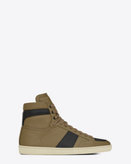 SAINT LAURENT SL/10H U Signature COURT CLASSIC SL/10H in Khaki and Black Leather f