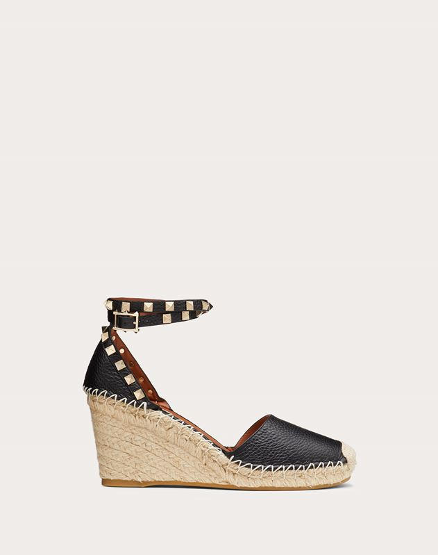 Grain calfskin leather Rockstud Double Wedge Espadrilles 65mm
