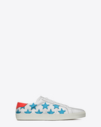SAINT LAURENT SL/06 U signature court classic sl/06 americana sneaker in silver, turquoise and red metallic leather f