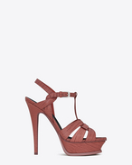 SAINT LAURENT Sandals D Classic TRIBUTE 105 Sandal in Dark Pink Lizard Embossed Leather f