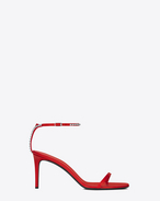 KATE 80 Crossed Back Studded Sandal in Red Leather and Grey Crystal