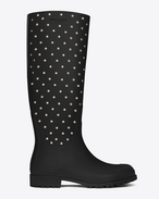 FESTIVAL 25 Studded High Boot in Black Rubber and Crystal