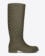 FESTIVAL 25 Studded High Boot in Dark Khaki Rubber and Crystal