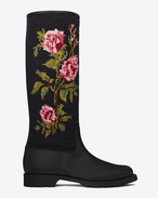 MOTORCYCLE 15 Needlepoint High Boot in Black Leather