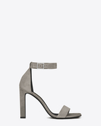 SAINT LAURENT Grace D GRACE 105 Ankle Strap Sandal in Steel Grey Suede f
