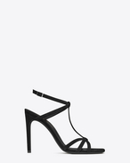 SAINT LAURENT Jane D JANE 105 T-Strap Sandal in Black Suede f