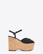 CANDY 55 Platform Sandal in Black Leather and Naturel Cork
