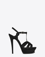 SAINT LAURENT Sandals D Classic TRIBUTE 105 Sandal in Black Satin and Crystal f