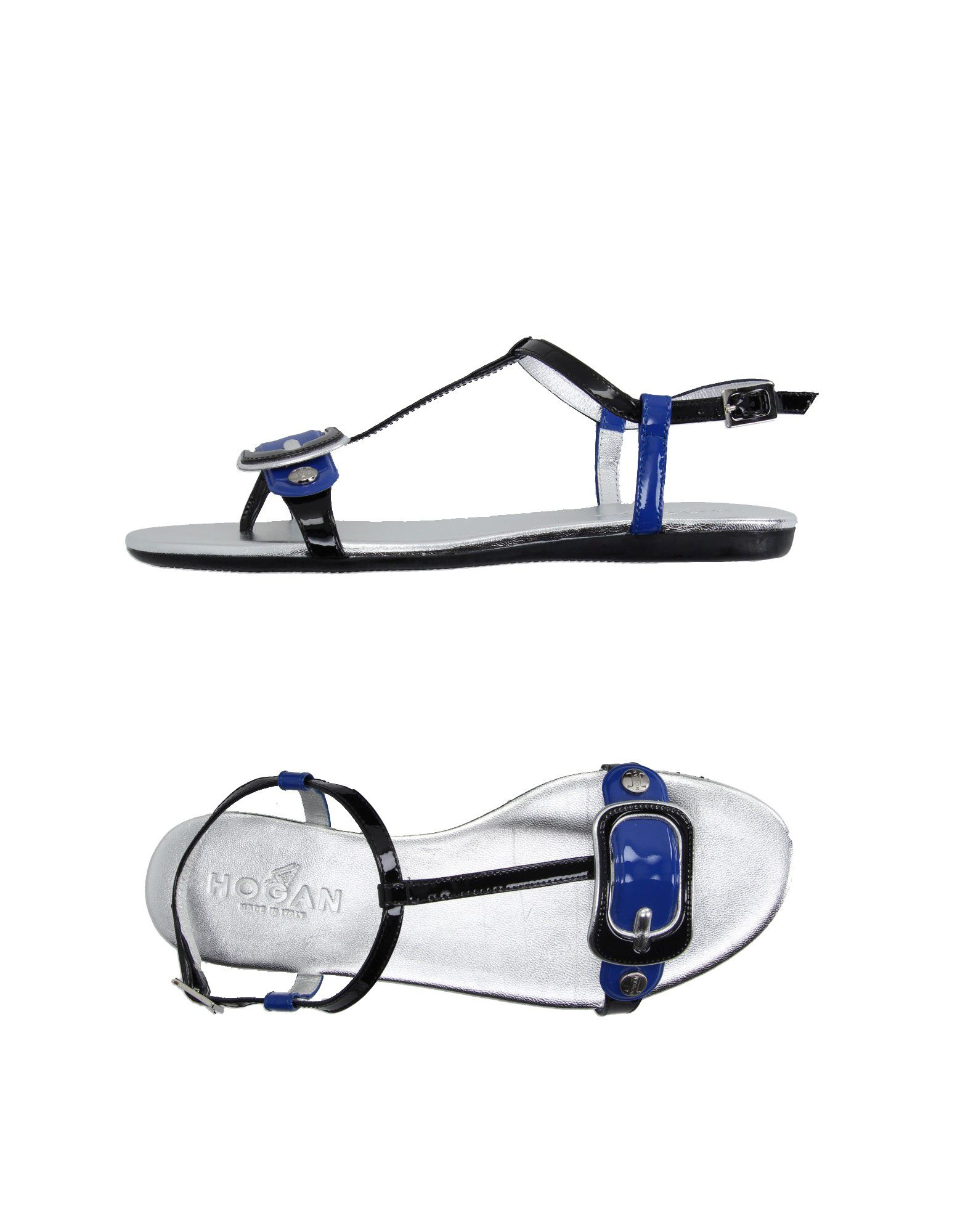 HOGAN Toe strap sandals. varnished effect, no appliqués, two-tone pattern, buckling ankle strap closure, round toeline, rubber cleated sole, flat. Soft Leather