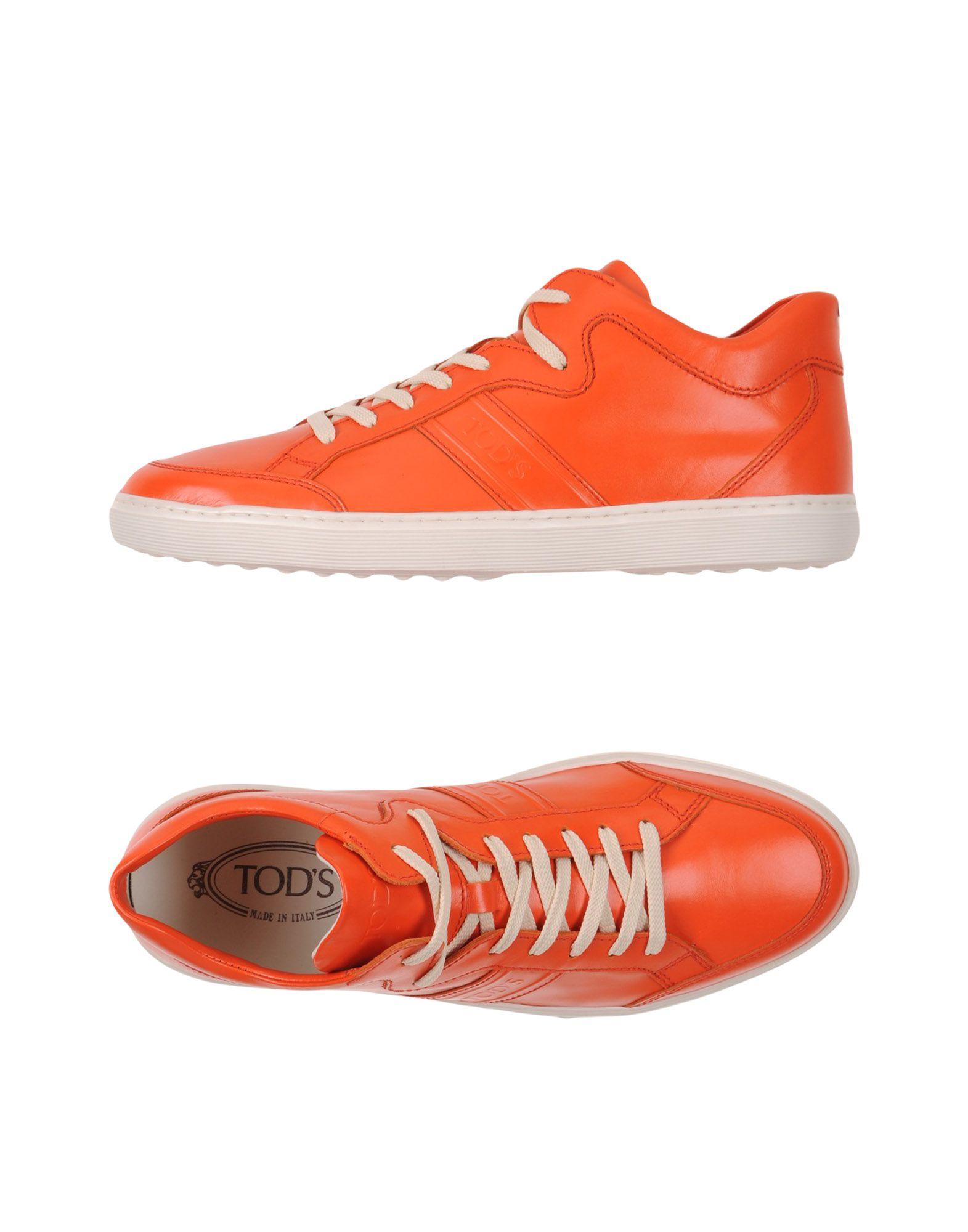 《送料無料》TOD'S メンズ スニーカー&テニスシューズ(ローカット) オレンジ 9.5 革