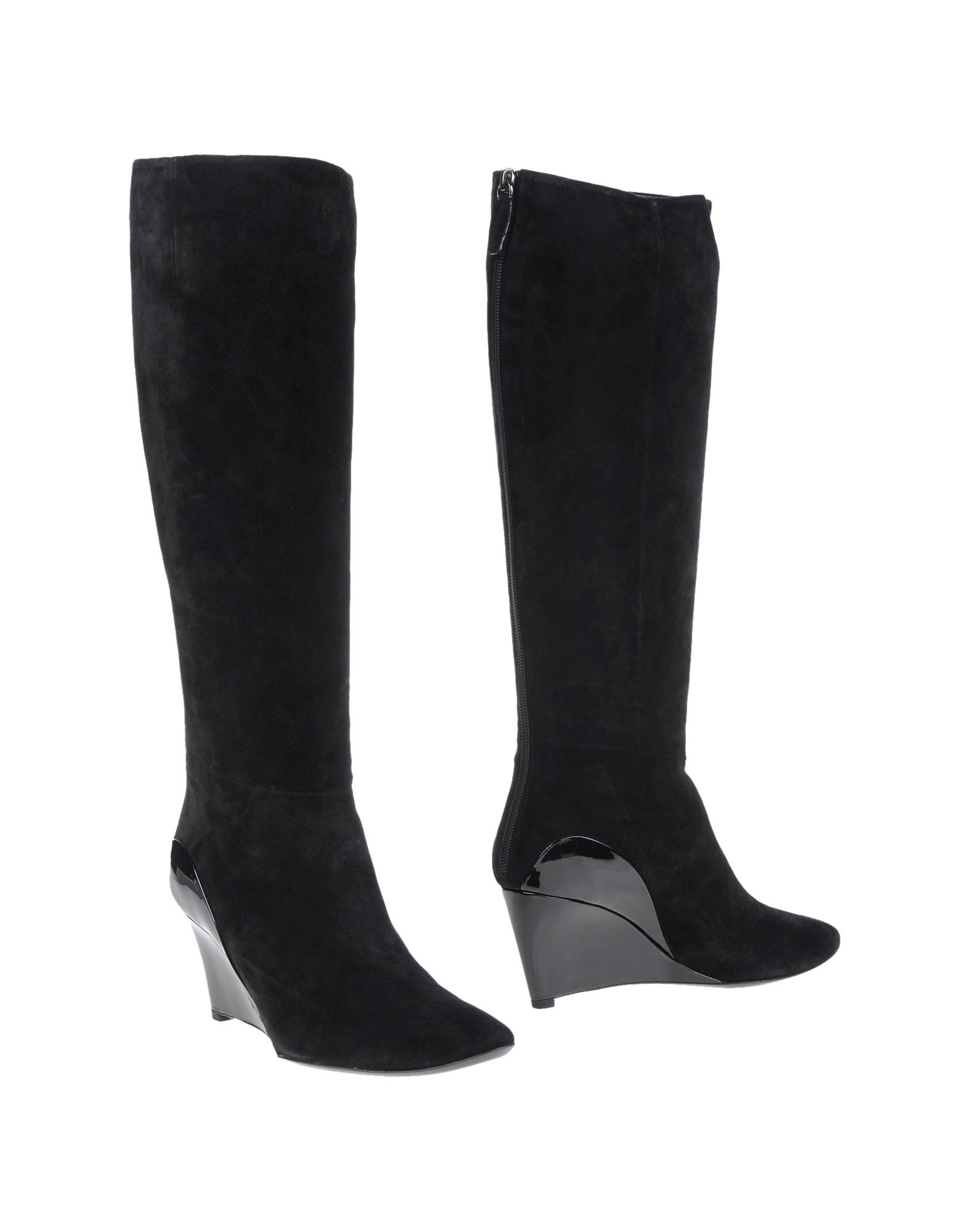 ROGER VIVIER Boots. sueded, no appliqués, varnished effect, solid color, zip closure, round toeline, leather sole, wedge heel, covered wedge. Soft Leather