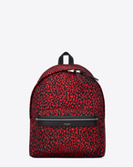 Classic Hunting Backpack IN BLACK AND STRAWBERRY BABYCAT PRINTED Nylon Canvas AND BLACK LEATHER