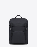 SAINT LAURENT Buckle Backpacks U Hunting Rucksack in Navy Blue Canvas and Black Leather f
