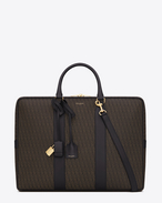SAINT LAURENT Business U CLASSIC Toile Monogram FLAT BRIEFCASE IN BLACK Printed CANVAS AND LEATHER f