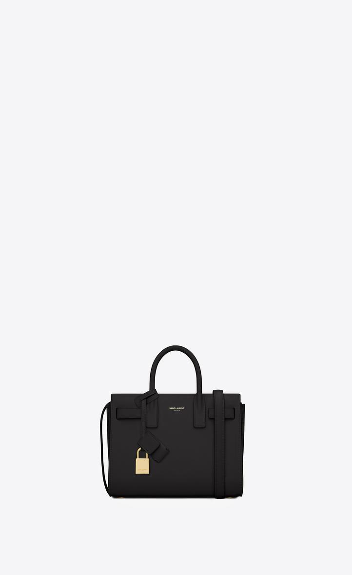 Classic Nano Sac De Jour Bag In Black Leather Front View