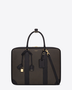 SAINT LAURENT Luggage U Classic Toile Monogram 24H Luggage in Black Printed Canvas and Leather f