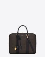 SAINT LAURENT Business U CLASSIC Toile Monogram MUSEUM SMALL BRIEFCASE IN Black Printed Canvas and Leather f