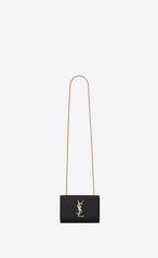 d808e0c45b Saint Laurent Classic Small Kate Satchel In Black Grain De Poudre ...