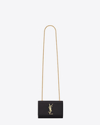 SAINT LAURENT MONOGRAM KATE D classic small kate satchel in black grain de poudre textured leather f