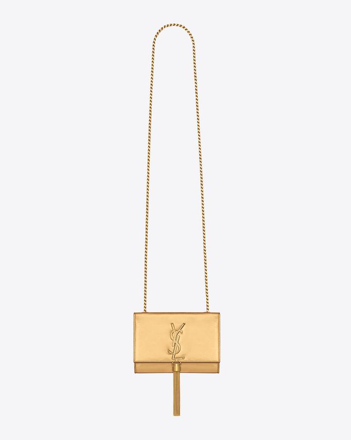 saint laurent classic small monogram saint laurent tassel satchel in gold metallic leather