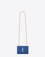 Classic Small Monogramme Saint Laurent Satchel blu royal  texture grain de poudre