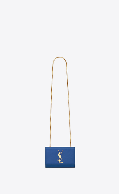 SAINT LAURENT MONOGRAM KATE D classic small kate satchel in in royal blue grain de poudre textured leather v4