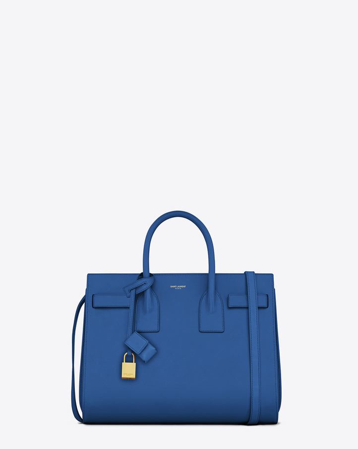Saint Laurent Classic Small Sac De Jour Bag In Royal Blue Leather ...