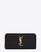 Monogram Saint Laurent Zip Around Wallet in Black Grain de Poudre Textured Matelassé Leather