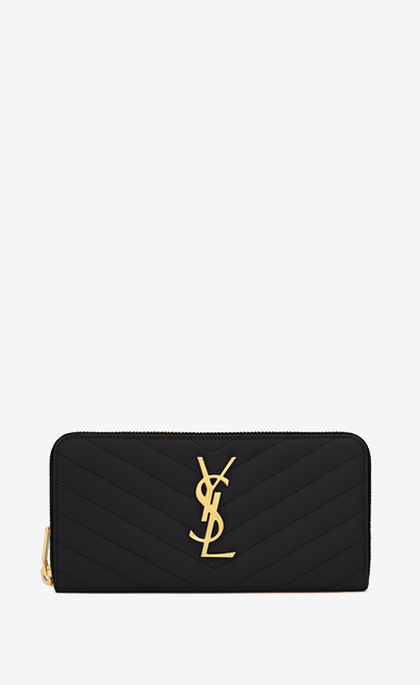 SAINT LAURENT Monogram Matelassé D monogram zip around wallet in black grain de poudre textured matelassé leather a_V4