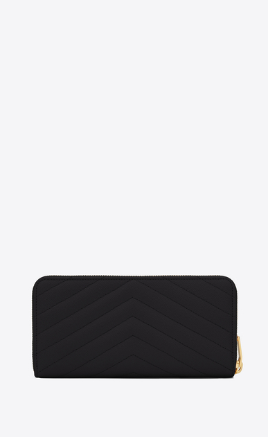 SAINT LAURENT Monogram Matelassé Woman monogram zip around wallet in black grain de poudre textured matelassé leather b_V4