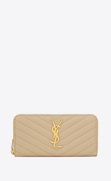 SAINT LAURENT Monogram Matelassé D monogram zip around wallet in powder grain de poudre textured matelassé leather a_V4