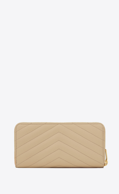 SAINT LAURENT Monogram Matelassé D monogram zip around wallet in powder grain de poudre textured matelassé leather b_V4