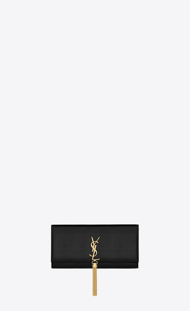 SAINT LAURENT MONOGRAM KATE WITH TASSEL Damen quasten-clutch aus schwarzem leder a_V4