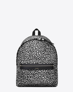 classic city backpack in black and white babycat printed nylon canvas and black leather
