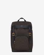 SAINT LAURENT Buckle Backpacks U Classic Toile Monogram Rucksack in Black and Beige Printed Canvas and leather f