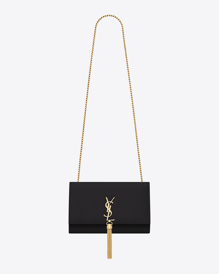 Saint Laurent Classic Medium Kate Tassel Satchel In Black