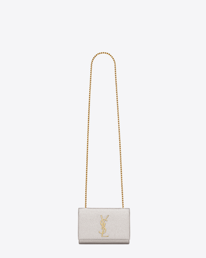 saint laurent classic small kate satchel in pale gold grained metallic leather