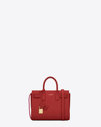 SAINT LAURENT Nano Sac de Jour D Classic Nano Sac De Jour Bag in Lipstick red Leather f