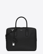 SAINT LAURENT Business U CLASSIC MUSEUM FLAT BRIEFCASE IN BLACK GRAIN DE POUDRE TEXTURED LEATHER f