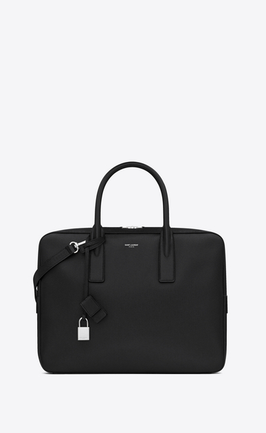 SAINT LAURENT Business Man museum flat briefcase in black textured leather a_V4