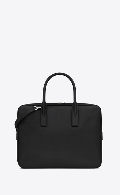 SAINT LAURENT Business Man CLASSIC MUSEUM FLAT BRIEFCASE IN BLACK GRAIN DE POUDRE TEXTURED LEATHER b_V4