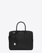 SAINT LAURENT Business U Classic Small Museum Briefcase in Black Grain De Poudre Textured Leather f