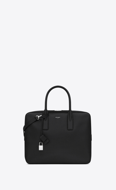SAINT LAURENT Business Man small museum briefcase in black textured leather a_V4