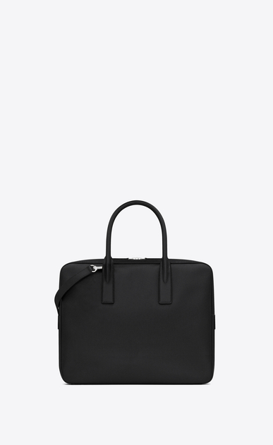 SAINT LAURENT Business Man small museum briefcase in black textured leather b_V4