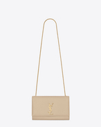 SAINT LAURENT MONOGRAM KATE D Satchel Medium MONOGRAMME en cuir texturé grain-de-poudre couleur poudre f