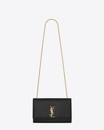 SAINT LAURENT MONOGRAM KATE D Satchel Medium Monogramme Saint Laurent en cuir texturé grain-de-poudre noir f