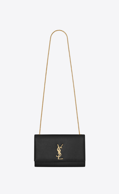 SAINT LAURENT MONOGRAM KATE Woman medium kate chain bag in black grain de poudre textured leather a_V4